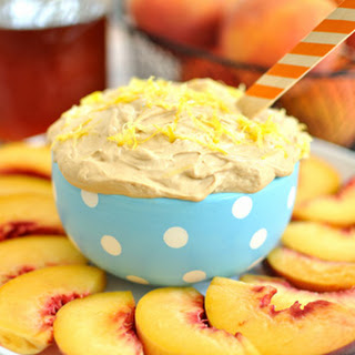Sweet Tea Fruit Dip with Peaches.