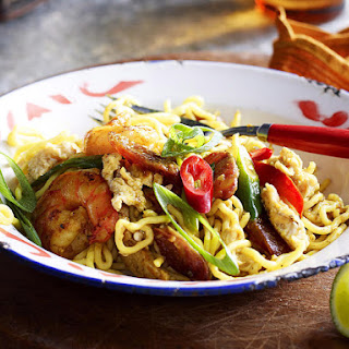 Curry Noodle Stir-Fry with Pork, Shrimp and Chinese Sausage.