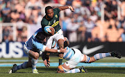 South Africa's Lukhanyo Am is tackled by Argentina's Agustin Creevy (L) and Tomas Lavanini during the Rugby Championship match at Malvinas Argentinas Stadium in Mendoza, on August 25, 2018.