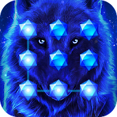 Blue Cool Wolf King AppLock