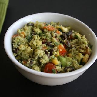 Black Bean Quinoa Salad with Avocado Cilantro Dressing