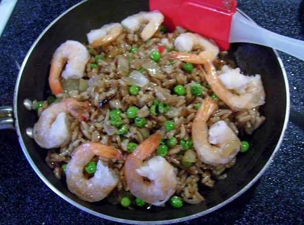 Please Note This Rice Was Made With Medium Cooked Shrimp In Place Of The Tiny Shrimp. We Love Shrimp And Love The Bigger Shrimp In This Recipe. Please Try Both. . . I'm Sure You'll Agree, Its A Meal In One Dish.
