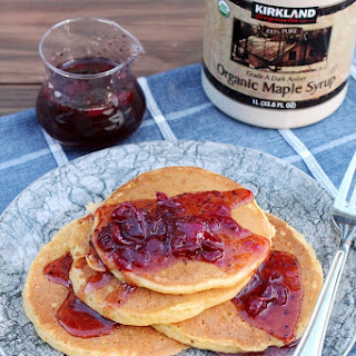 SWEET POTATO CASSEROLE PANCAKES WITH CRANBERRY SAUCE SYRUP