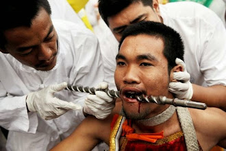 Photo: A devotee of the Chinese Shrine Sam Hong Hoo has his face pierced prior to a procession on October 3, 2008, at the Vegetarian Festival in Phuket. The festival celebrates vegetarianism and calls on devotees through acts of mortification to purify themselves as they take on the sins of the community.  AFP PHOTO / NICOLAS ASFOURI