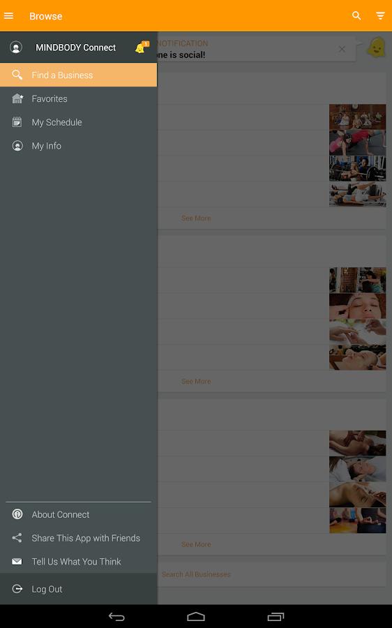 MINDBODY Connect- screenshot