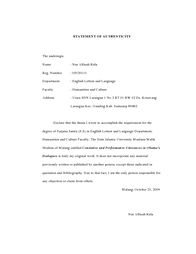 Statement of authenticity thesis