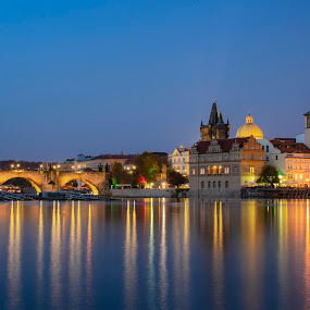 An evening in Prague by Santanu Majumder - City,  Street & Park  Night ( prague, long exposure, evening, vltava, blue hour )