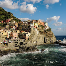 Vernazza harbor by Justin Hyder - City,  Street & Park  Vistas ( cliff, terre, harbor, sea, vivid, liguria, beautiful, cinque, pier, rocks, romantic, landmark, village, europe, italy, architecture, tower, waves, coastline, famous, green, nature, european, fishing, italian, boats, touristic, vernazza, mediterranean, coast, traditional, attraction, blue, beach, spectacular, restaurants, facades, polarized, travel, colorful )