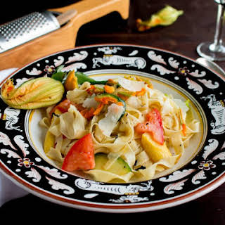 Homemade Tagliatelle Pasta with Zucchini Blossoms.