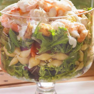 Layered Caesar, Shrimp & Pasta Salad.