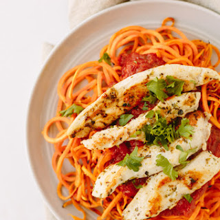 Sweet Potato Noodles with Chicken and Tomato Basil Sauce
