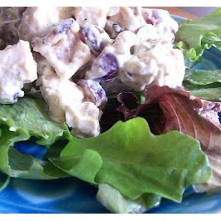 Curried Chicken Salad With Red Grapes and Walnuts.