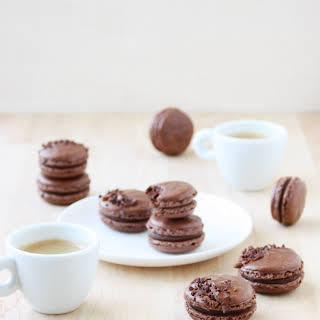 Dark Chocolate Ganache Macarons.