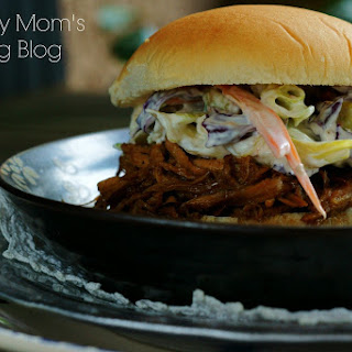 Crock Pot Pulled Pork Sliders With Blue Cheese Cole Slaw.