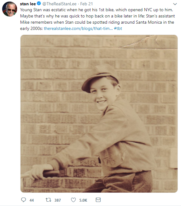 Stan Lee's account posting history about the comic book legend.