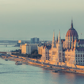 Hungarian Parliament during sunset by Mo Kazemi - Buildings & Architecture Public & Historical ( budapest hungary, city, danube, magic hour, riverside, parliament, hungary, golden hour, hungarian parliament, sunset, cityscape, budapest, river, landscape, architecture )