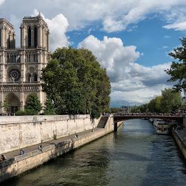 Notre Dame Paris by Lynn Bolt - Buildings & Architecture Places of Worship ( tourist attraction, paris, notre dame cathedral, river seine, iconic building, place of worship, france, cityscape, ile de la cite, river, city, island,  )
