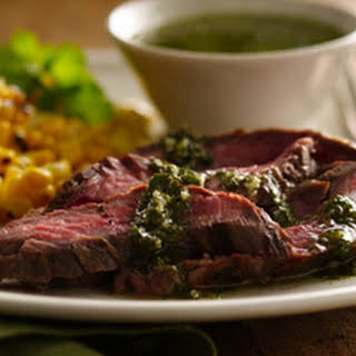 Grilled Skirt Steak with Chimichuri Sauce.