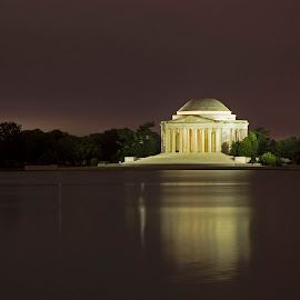 Jefferson Memorial at night by Jack Nevitt - Buildings & Architecture Statues & Monuments ( washington dc, jefferson, night, memorial, thomas, tidal basin )