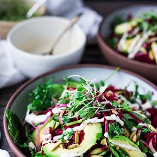 Beet and Avocado Salad with Cashew Tahini and Cashew Pesto.