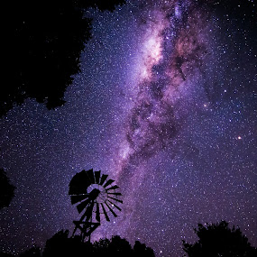Stargazer by Matthew Wood - Landscapes Starscapes ( stars, long exposure, windmill, nightscape, milky way )