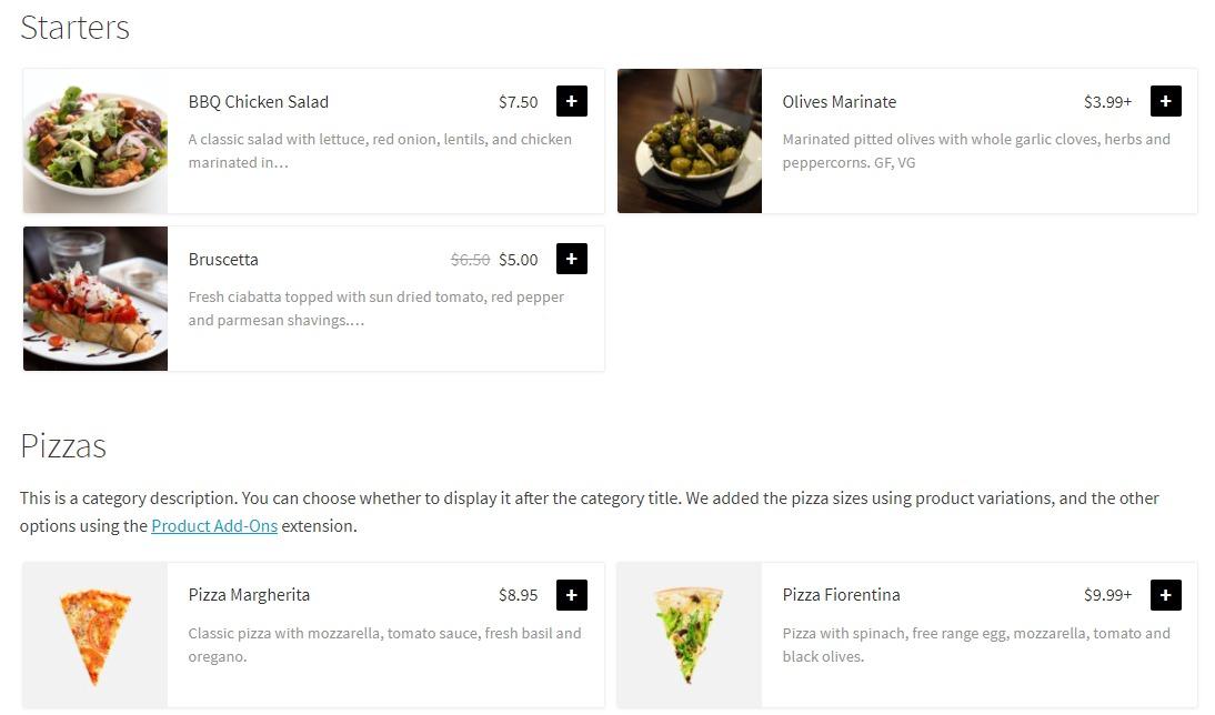 virtual restaurant menu