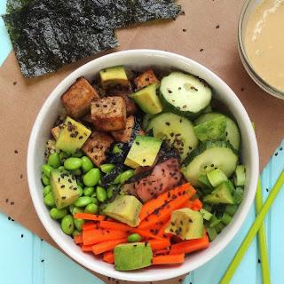 Quinoa Edamame Sushi Bowl with a Tahini Wasabi Dressing