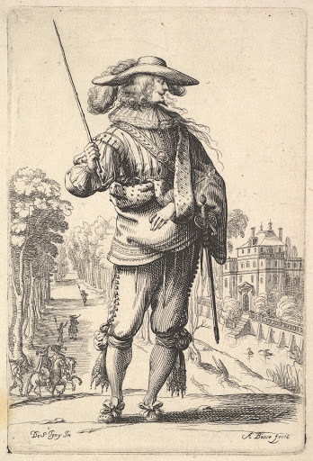 A gentleman with his head turned towards the right in profile, wearing a plumed hat and a cloak with the cross of the Order of the Holy Spirit, holding a whip in his right hand and his left arm in a sling, 'La Jardin de la Noblesse Françoise dans lequel ce peut ceuillir leur maniere de Vettements'