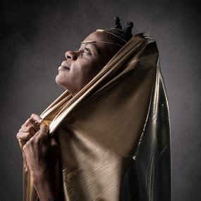 The light by Eric Bureau - People Portraits of Women ( studio, black & gold, gena, photoshoot )