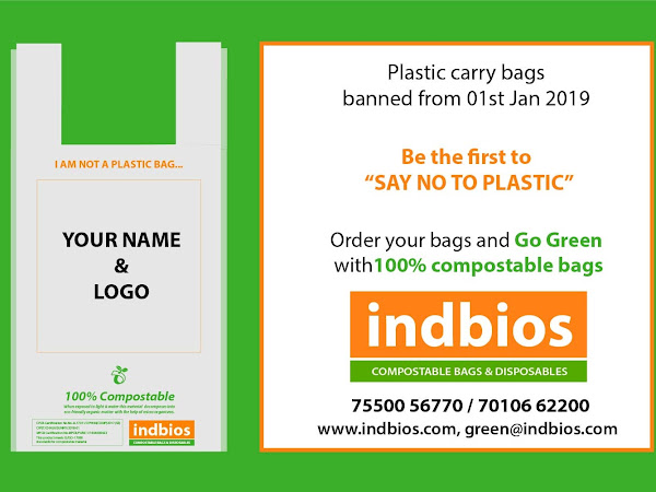 INDBIOS BIODEGRADABLE, COMPOSTABLE CARRY BAGS, GARBAGE BAGS, JUICE