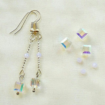 正方水晶一字耳環