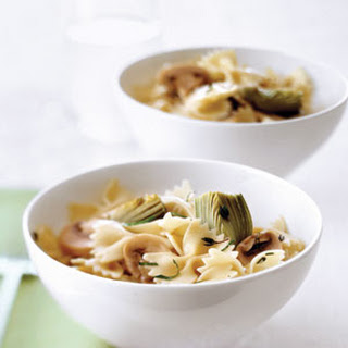 Farfalle with Baby Artichokes and Mushrooms