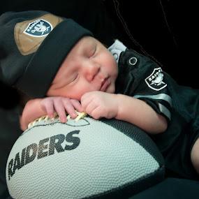 baby raider's fan by John & Sharon Green - Babies & Children Child Portraits ( sleepy baby, football, raiders, baby, baby boy )