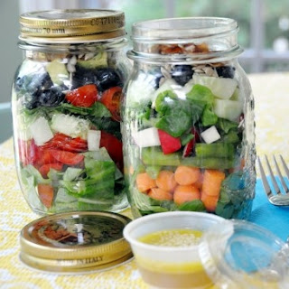 Summer Sunshine Salad in a Mason Jar.