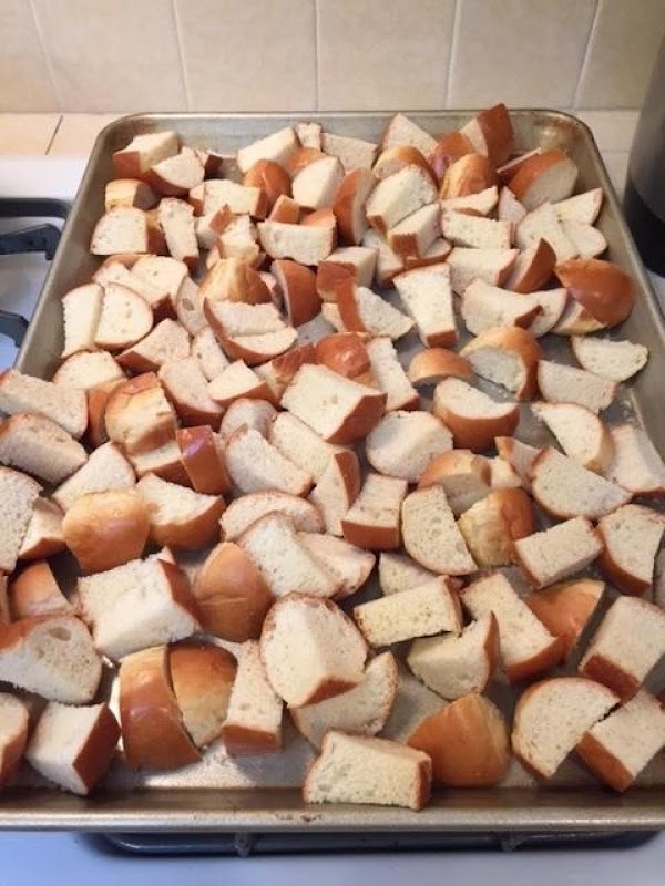 Can do ahead of time: If the bread is not stale, cut into cubes,...