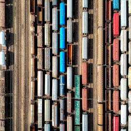 Trains by Péter Mocsonoky - Transportation Trains ( container, junction, commercial, carriage, depot, wagon, freight, goods, industry, aerial, trains, platform, vehicle, view, shipping, top, above, station, railway, cargo, track, traffic, train, delivery, art, business, railroad, rail, transport, drone, conceptual, heavy, transportation, wagons, industrial, urban, transit, vintage, colorful )