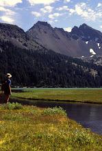 Photo: Hiker below Broken Top, Cascade Mountains, Oregon