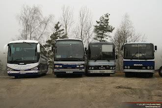 Photo: BR 22302, AR 98065, LS 36890 og LS 31018 hos Juel Johansens Bilruter på Rolvsøy, 17.03.2012.