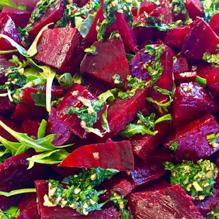 A Recipe for Roasted Beets with Herb Sauce and Arugula