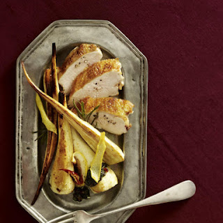Chicken Breasts with Almond Pesto and Roasted Parsnips