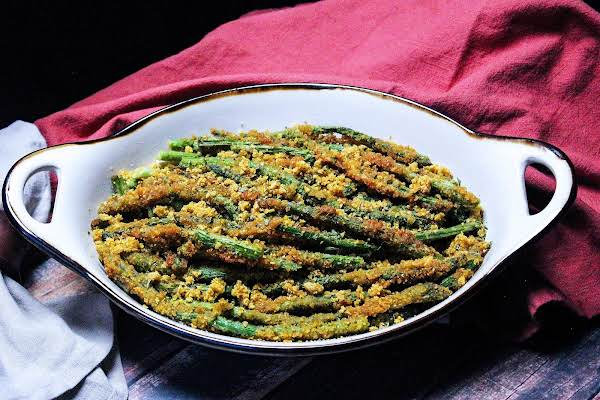 A Dish Of Fried Asparagus Spears.
