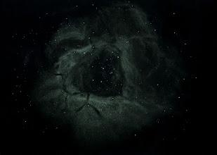 Photo: NGC2237, la nébuleuse de la Rosette, dans la Licorne.  Dessin réalisé sur 3 nuits de décembre 2015, total d'environ 8h d'observation en cumulé. T406 à 88X (100° de champ) et filtre OIII Lumicon.