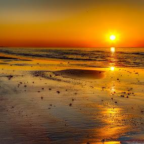 Sunrise Galveston by John Chitty - Landscapes Sunsets & Sunrises ( texas, beach, seascape, galveston, sunrise )