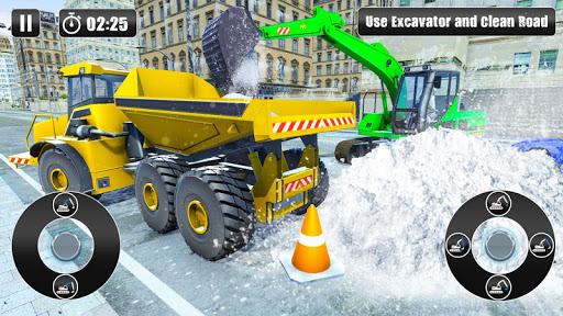 Excavator Snow Plow: City Snow Blower Truck Games 1.0 screenshots 2