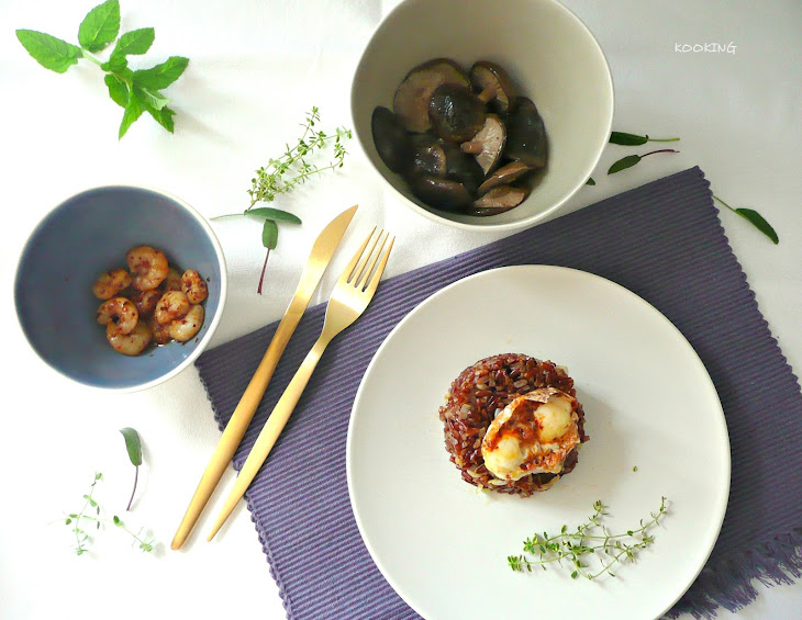 Red Rice with Shiitake Mushrooms, Spicy Prawns and Quail Eggs