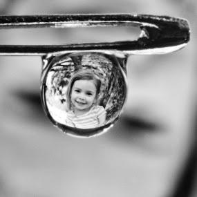 Water Drop Reflections by Brian Wilson - Abstract Macro ( water, beautiful, white, reflections, d3200, beauty, love, macro, girl, drops, needle, nikon, black, closeup )