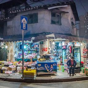 Night shift by Wahan Shahbazian - City,  Street & Park  Markets & Shops ( shop, menggu lu, colors, nightmarket, night shift, 1902, colorfull, lights, market, convenience, night, zhabei, jin yuan lu, shanghai, china )