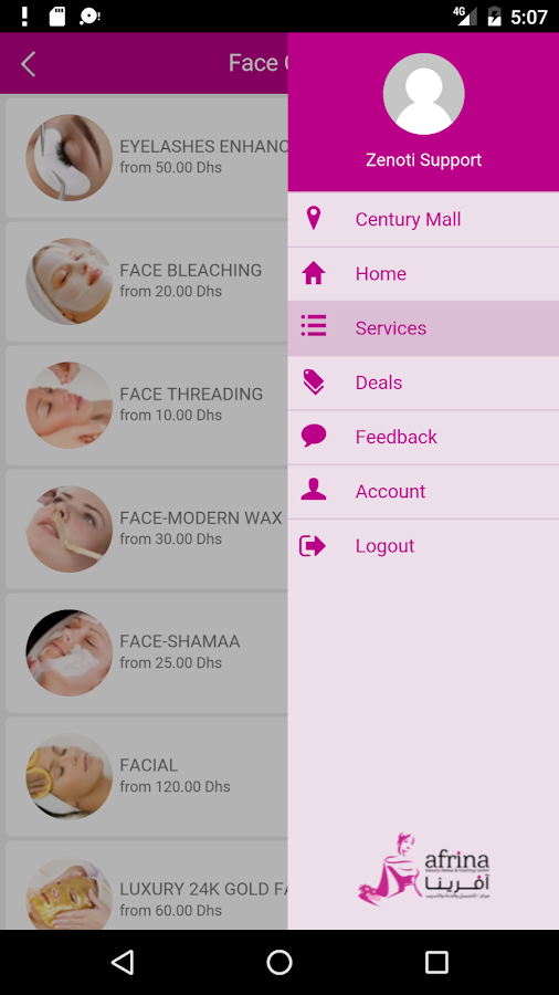 Afrina Beauty Center- screenshot