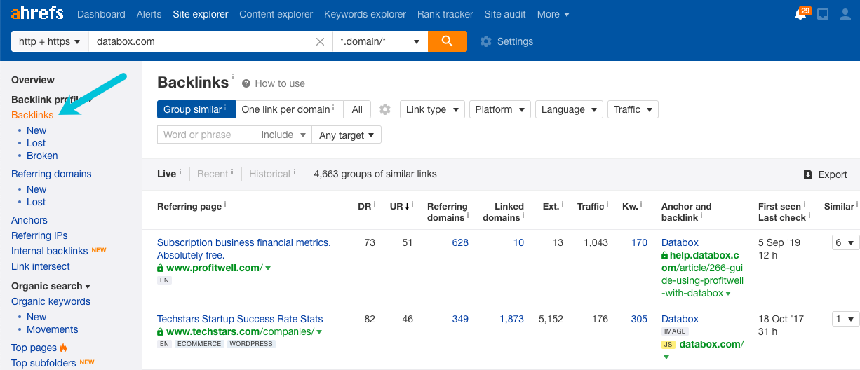 find competitor backlinks in ahrefs