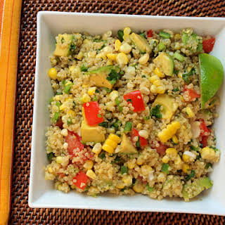 Quinoa Salad with Corn, Tomatoes, Avocado and Lime.